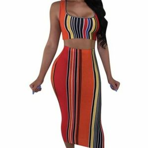 Dresses & Skirts - Cool digital printing striped two-piece
